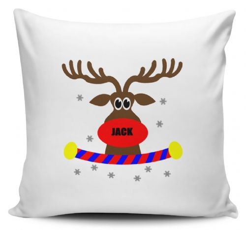 Personalised Reindeer Nose Name Cushion Cover